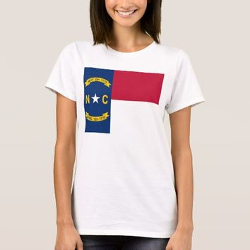 Women T Shirt with Flag of North Carolina State