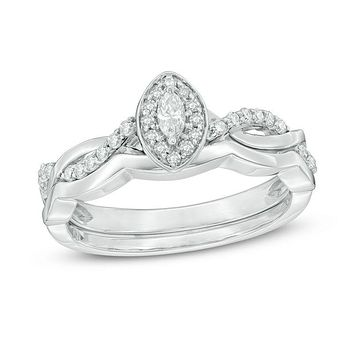 1/4 CT. T.W. Marquise Diamond Frame Twist Bridal Engagement Ring Set in 14K White Gold