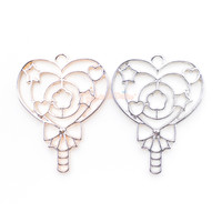 Magical Heart Wand Open Bezel Charm (3 pieces)