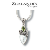 Zealandia Designs Shield Pendant with Peridot and Mother of Pearl on an 18-Inch Chain
