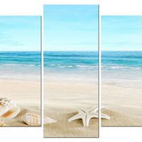 """Pyradecor Seashell 5 panels Seascape Giclee Canvas Prints Landscape Pictures Paintings on Modern Stretched and Framed Canvas Wall Art Sea Beach Pictures Artwork for Home Decor 10x16""""x2pcs,10x20""""x2pcs,10x24""""x1pc"""