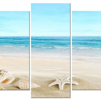 "Pyradecor Seashell 5 panels Seascape Giclee Canvas Prints Landscape Pictures Paintings on Modern Stretched and Framed Canvas Wall Art Sea Beach Pictures Artwork for Home Decor 10x16""x2pcs,10x20""x2pcs,10x24""x1pc"