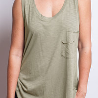 Olive Wood Double Pocket Tank Top
