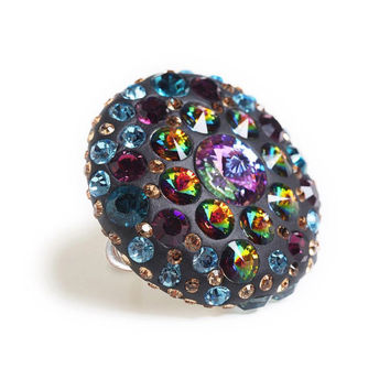 Large Swarovski ring , big statement ring , huge chunky ring , Christmas jewelry , colorful gemstone ring , holiday gift for mom