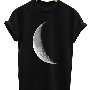HALF MOON T SHIRT FULL GALAXY SPACE EMO TUMBLR INDIE HIPSTER WOMEN TOP MEN GIRL PLUS SIZE