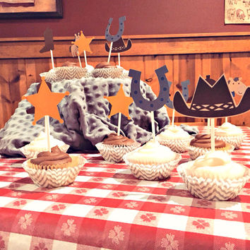 Cowboy Western Cupcake Toppers - Horse, Gun, Star, Horseshoe, Boot & Hat