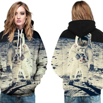 Apollo Land On The Moon Sweatshirt Outer Spacemen Skateboarding Hoodies Autumn Over Size Women Jumper Pullover Tracksuit Jackets