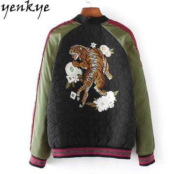 Trendy 2018 Autumn Women Tiger Embroidery Bomber Jacket Stand Collar Zipper Basic Coat European Style Long Sleeve Fashion Outerwear AT_94_13