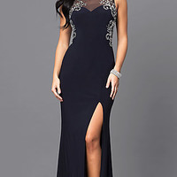 Navy Blue Long Prom Dress with Jeweled Bodice