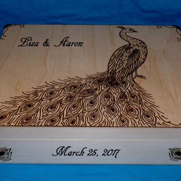Decorative Wedding Card Box Personalized Wood Burned Wedding Card Holder Peacock Feathers Keepsake Envelope Wooden Suitcase Box Wedding Gift