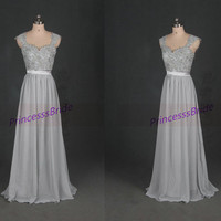 Long gray chiffon and lace prom dresses in 2014,chic cute sweetheart gowns for holiday party,cheap elegant bridesmaid dress hot.