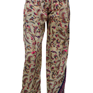 Women's Harem Pants Beige Paisley Printed Hippy Yoga Chic Baggy Trousers