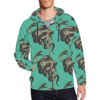 Skull & Snakes Design 1 Men's All Over Print Full Zip Hoodie