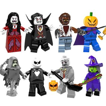 Single Sale Halloween The Horror Theme Movie Vampire Count Zombie Queen Akasha Jack Skellington Ghosts Building Blocks Kids Toys