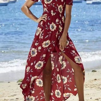 Burgundy Floral Print Bandeau Draped Boat Neck Off Shoulder Bohemian Maxi Dress