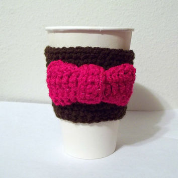 Brown Coffee Cozy with Hot Pink Bow