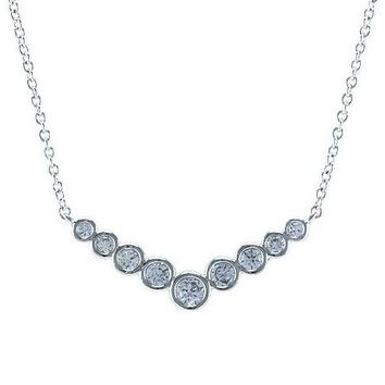 Marya CZ Bezel Setting Silver Pendant Necklace