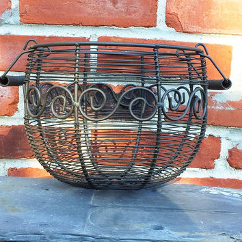 Rustic Black Metal Scroll Basket