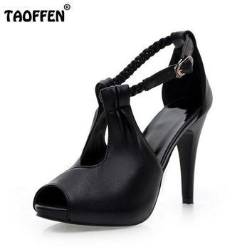 size 30-43 woman ankle strap high heel sandals new arrival hot sale Fashion office sum