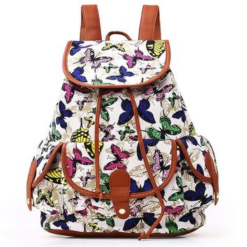 Vintage Women Girls School Bag Bohemian Backpack Drawstring Printing Canvas Traveling Rucksack Popular