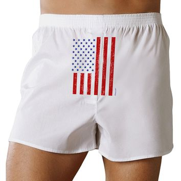 Red and Blue Stamp Style American Flag - Distressed Front Print Boxer Shorts by TooLoud