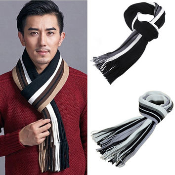 2016 Winter Design Striped scarf men shawls scarves foulard fall fashion designer wrap men business scarf echarpe with tassels