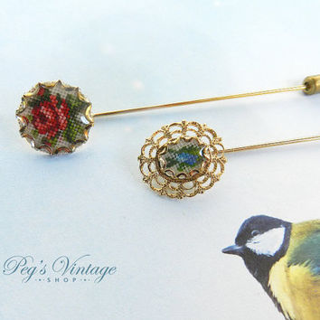 Vintage Tapestry/Petit Point Floral Hat Pins/Two Embroidery Flower Stick Pins, 1950's Jewelry