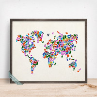 Cat World Map Poster, Cats World Map, World Map Print, Animal Wall Print, Dorm Decor, Animal Map, Baby Room Decor, Mothers Day Gift