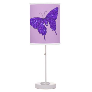 Purple Violet Butterfly Sparkly Glitter Fun Girly Lamp