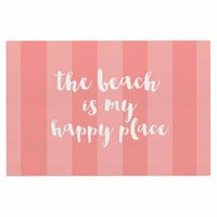 "Sylvia Cook ""Beach is My Happy Place - Coral"" Pink Typography Decorative Door Mat"