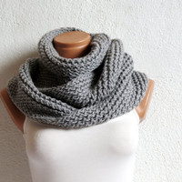 Knit Scarves Gray Block Infinity Scarf. Loop Scarf, Circle Scarf, Neck Warmer. Gray Crochet Infinity