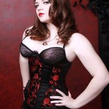 Black Red Daisy Long Lace Up steel boned Corset