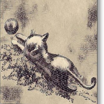 Kitten Playing With Ball - Metal Print