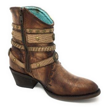 ICIKAB3 Corral Tobacco & Studded Zipper Ankle Boots