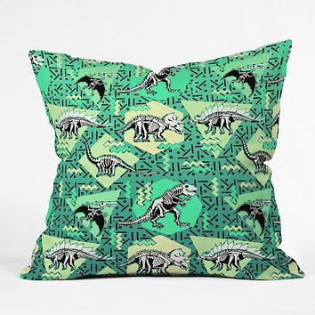 Chobopop Nineties Dinosaur Skeleton Pattern Throw Pillow