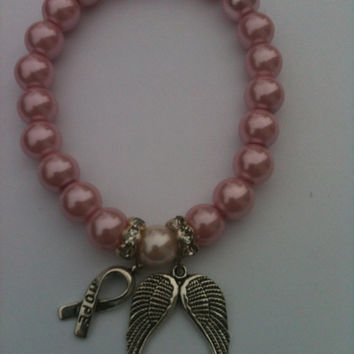 Breast Cancer Awareness Pearl Angel Wings Hope Ribbon Keepsake Bracelet