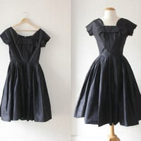 1950s navy blue Seymour Jacobson taffeta new look party dress