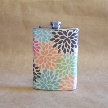 Bachelorette Gift Flask Multi Colored Modern Floral Mum Print Girly Gift Stainless Steel Hip Flask 8 Ounces