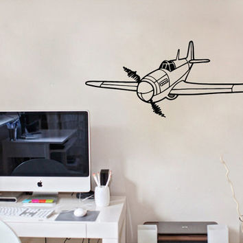 Vinyl Decal Airplane Plane Monoplane Nursery Children Babes Kids Home Wall Decor Stylish Sticker Mural Unique Design for Any Room V899