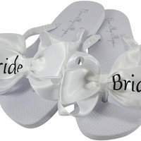 Bride Flip Flops with Black Gray Glitter - Shop Wedding flip flops- flat/ wedge/ ivory/ white, all sizes & colors