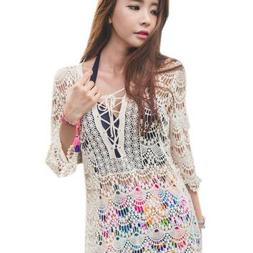 Crochet Front Lace Up V Neck See Through Sexy Blouse Floral Pattern Beach Cover Up Women New Fashion Casual Summer Top 2016