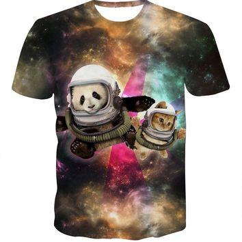 Harajuku Space Cat Panda T-Shirt Astronaut Galaxy 3d T Shirt Fashion Tees Women Men Tops Tee Shirts