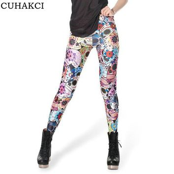 3D Digital Printing Leggings Halloween Cartoon Type Knitted Blended Cotton Mid Skull Pattern Women Leggins Breathable