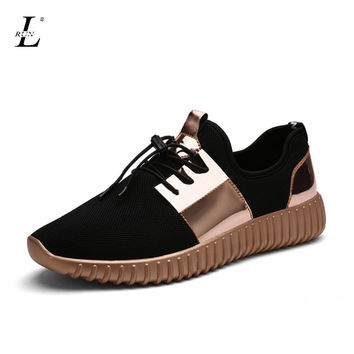 Comfortable Men Women Running Shoes Brand Sport Sneaker Breathable Light Mesh Athletic Outdoor Gold Silver Flats Lace-Up Shoes