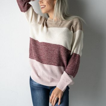 Mocha and Plum Striped Sweater