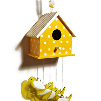 Whimsical Hand Painted Yellow Birdhouse Wind Chime with Yellow Fused Glass Birds - One of a Kind