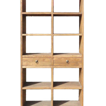 Rustic Raw Wood Open Shelf Bookcase Display Cabinet cs1207S
