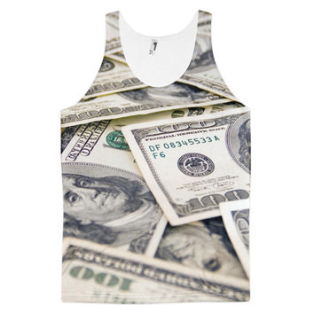 Benjamin Franklin Hundred Dollar Bills Collage Money Currency Dye Sublimation All Over Print 3D Full Print Cotton Polyester Unisex Novelty Green & Beige Tank Top