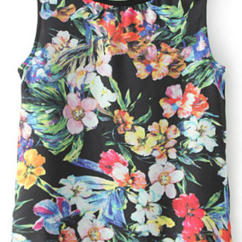 Black Sleeveless Tropical Print Top