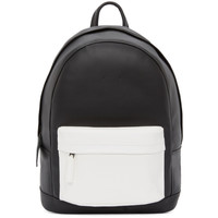 Matte Black & White Small Leather Backpack